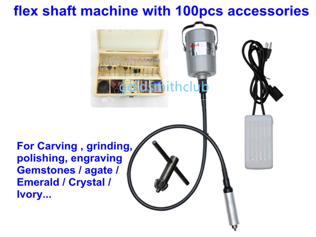 2013 Popular ! Jewelry Tools Flex Shaft Machine & 100pcs Accessories, For Carving, Grinding, Carving, Gemstones, Agate...