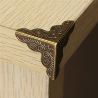 MTGATHER 10Pcs Antique Jewelry Box Corner Foot Wooden Case Corner Protector Bronze Tone Flower Pattern Carved