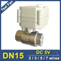 5 Wires DC5V BSP NPT SS304 1 2 Motorized Valve With Manual Override And Position Indicator