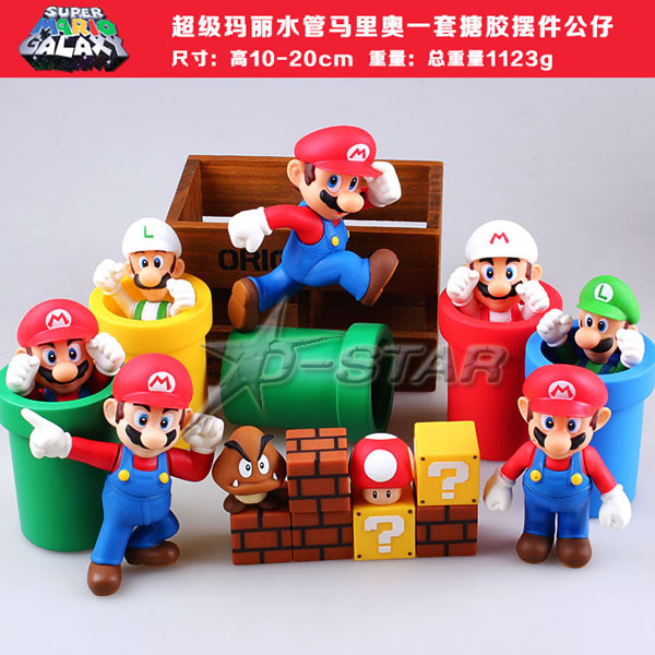 Free Shipping 7pcs Super Mario Bros Solid Set Game Scene Boxed Action Figure Collection Model Toy Gift (7pcs per set)