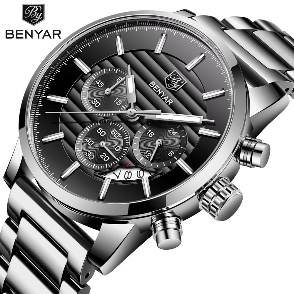 <font><b>BENYAR</b></font> Steel Business Watches Men Luxury Brand Chronograph Sport Waterproof Quartz Men Wrist Watch Male Clock Erkek Kol Saati image