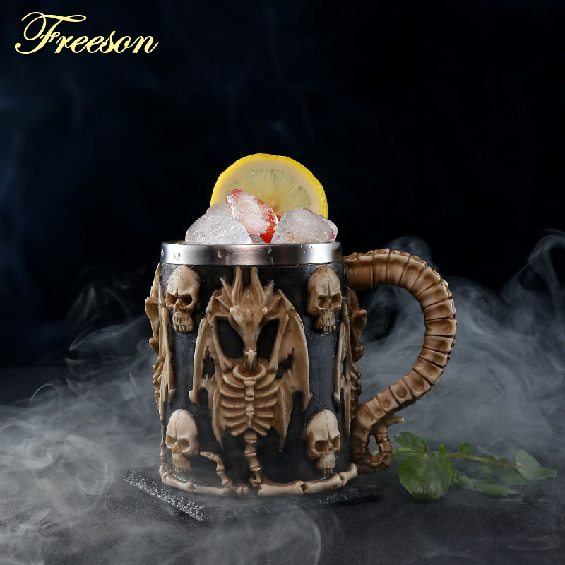 Image 4 - Skull Dragon Resin Stainless Steel Beer Mug Retro Knight Tankard Halloween Coffee Cup Creative Viking Tea Mug Pub Bar DecorationMugs   -