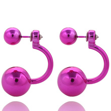11 Colors Fashion Paragraph  Unique Geometric Double Ball Earrings Hot Double Side UV Shining Pearl Studs Earrings For Women