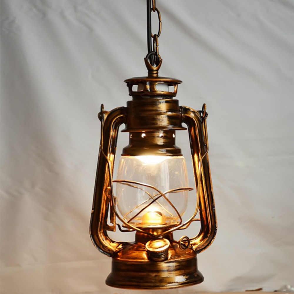 250mm * 160mm 빈티지 향수 랜턴 등유 램프 펜던트 라이트 바 입구 램프 e27 램프베이스 골동품 브라운 색상