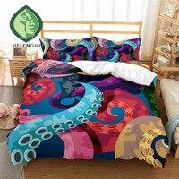 HELENGILI 3D Bedding Set octopus Print Duvet cover set lifelike bedclothes with pillowcase bed set home Textiles #2 4