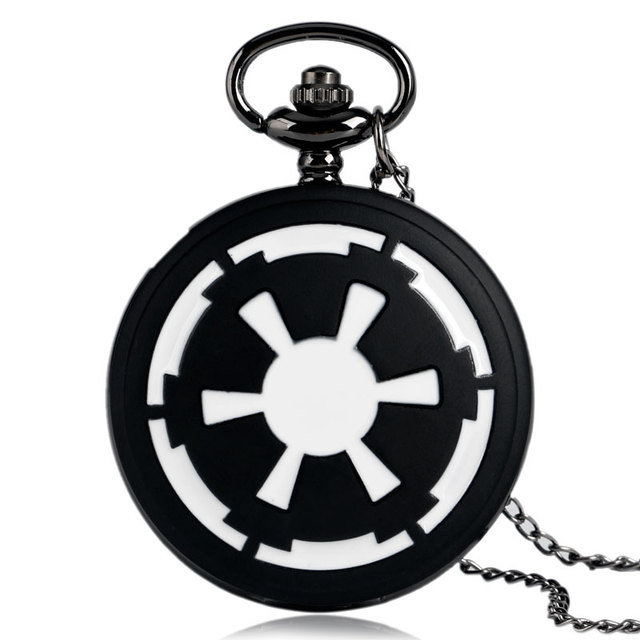 Antique Mens Women Full Hunter Chain Necklace Star Wars Galactic Empire Badge Pe