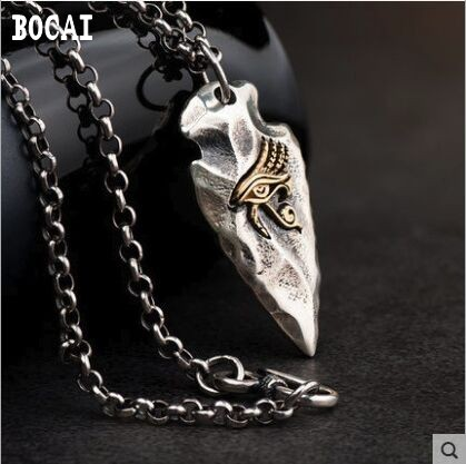 100% real S925 silver Horus eye necklace original vintage Thai silver stone spear pendant clavicle chain silver jewelry100% real S925 silver Horus eye necklace original vintage Thai silver stone spear pendant clavicle chain silver jewelry