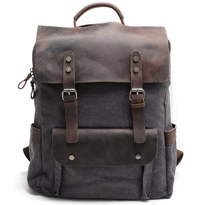 BEAU-Men Leather Canvas Rucksack Laptop Backpack College School Bookbag