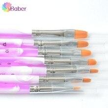 7pcs Manicure Nail Art Brush Nails Tools Kolinsky Acrylic UV Gel Nail Brush Set Led Polish Synthetic Brushes Pencil Painting Pen