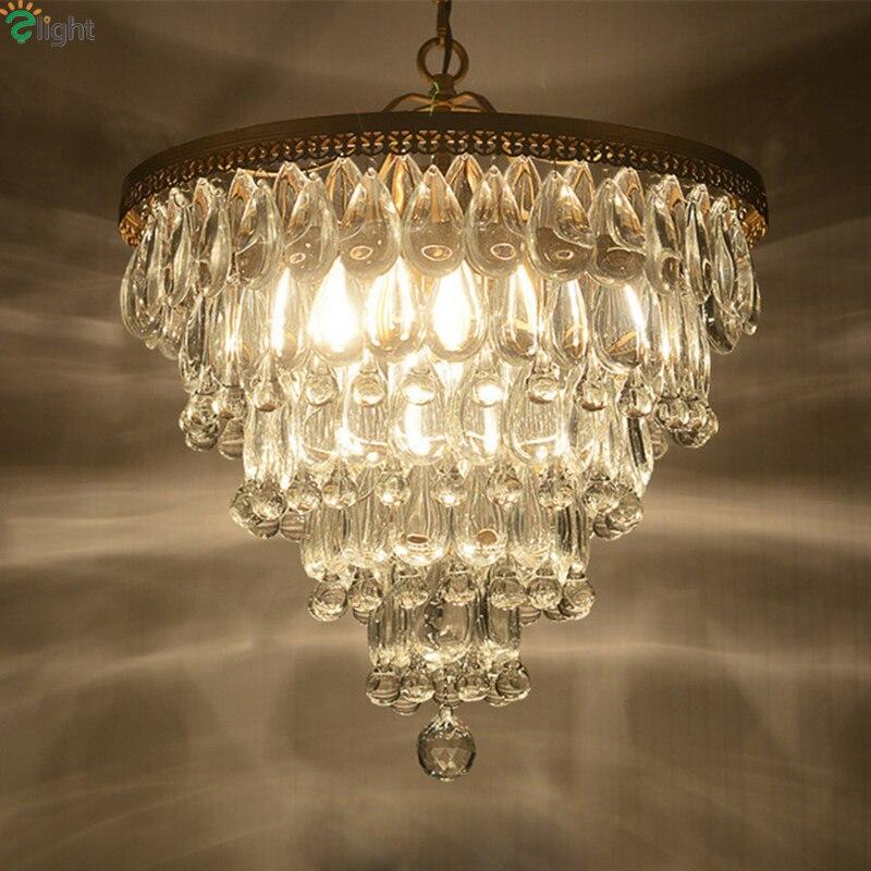E27 Levou Pingente Chandelier Iluminação Lustre de Cristal moderna Sala De Jantar De Ferro Levou Lâmpada Lustres Foyer Quarto Levaram Luzes de Suspensão