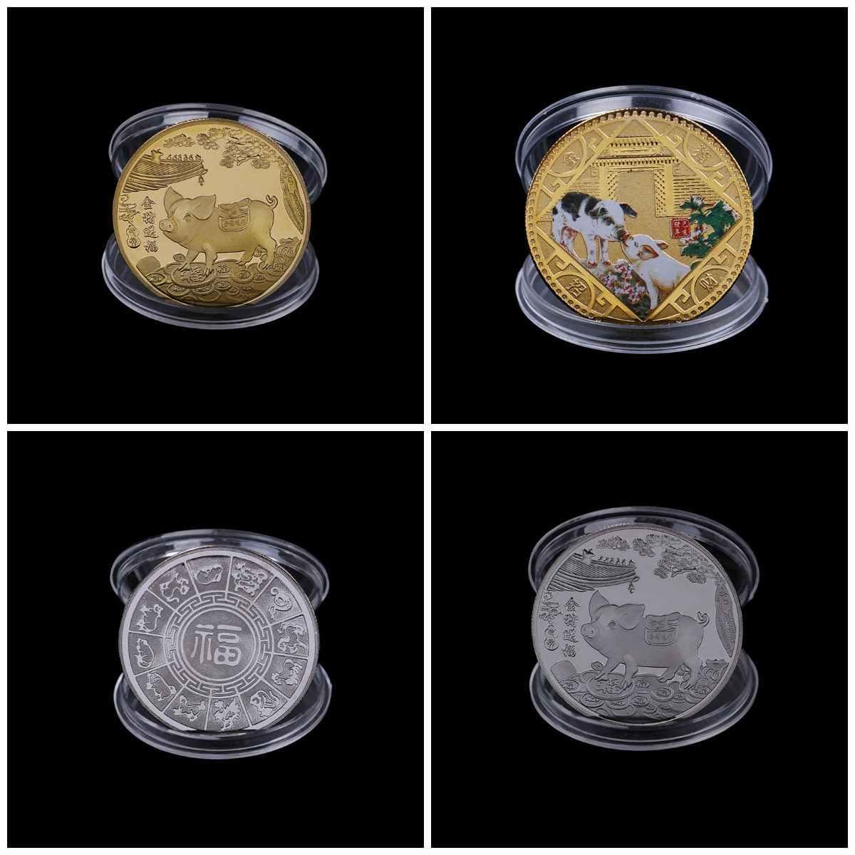 2019 Fu Pig памятная монета год свиньи поставляет деньги коллекция монет подарок на Новый год золото посеребренный Горячий