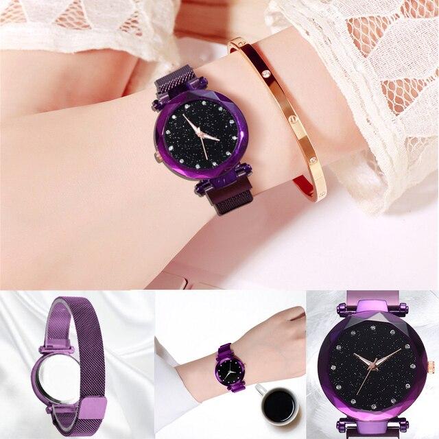 Luxury Diamond Rose Gold Women Watches Fashion Ladies Starry Sky Magnetic Watch Casual Mesh Steel Rhinestone Female Wristwatch 2