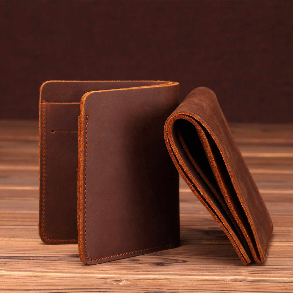 Crazy Horse Leather Men Wallets Retro Handmade Small Purse Top Cow Leather Brand Designer Minimalist Wallet Portomonee