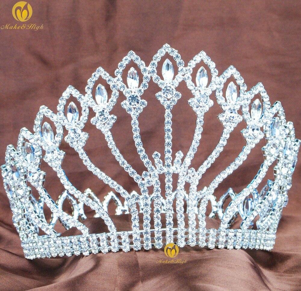 Crowns full circle round tiaras rhinestones crystal wedding bridal - Stunning Large Tiara Full Round Hair Crown 5 Clear Rhinestones Crystal Headband Wedding Bridal Beauty Pageant Party Costumes