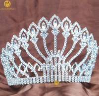 Stunning Large Tiara Full Round Hair Crown 5 Clear Rhinestones Crystal Headband Wedding Bridal Beauty Pageant Party Costumes