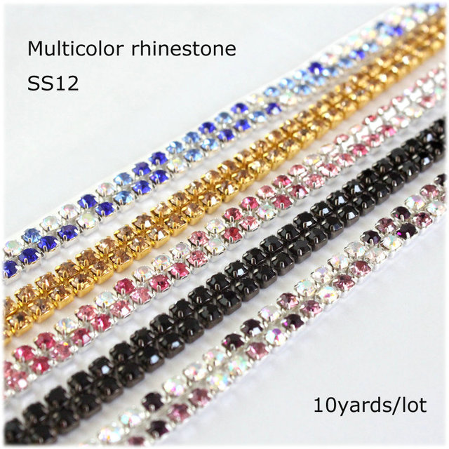 New bulk price mixed colored rhinestone 10yards lot SS12 flatback jewelry  findings 3mm rhinestone chain abd936cbd766