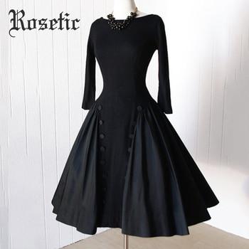 Rosetic для женщин Винтаж Готический стиль черный цвет осень с длинным рукавом спинки Кнопка длинное платье