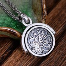 925 пробы серебряные ювелирные изделия шесть Подвеска со словами Ом Мани Падме Хум вращающийся сдвиг Lucky Винтаж Будда ювелирные изделия