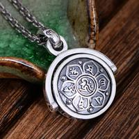 925 Sterling Silver Jewelry Six Words Pendant Om Mani Padme Hum Rotatable Shifting Lucky Vintage Buddha Jewelry