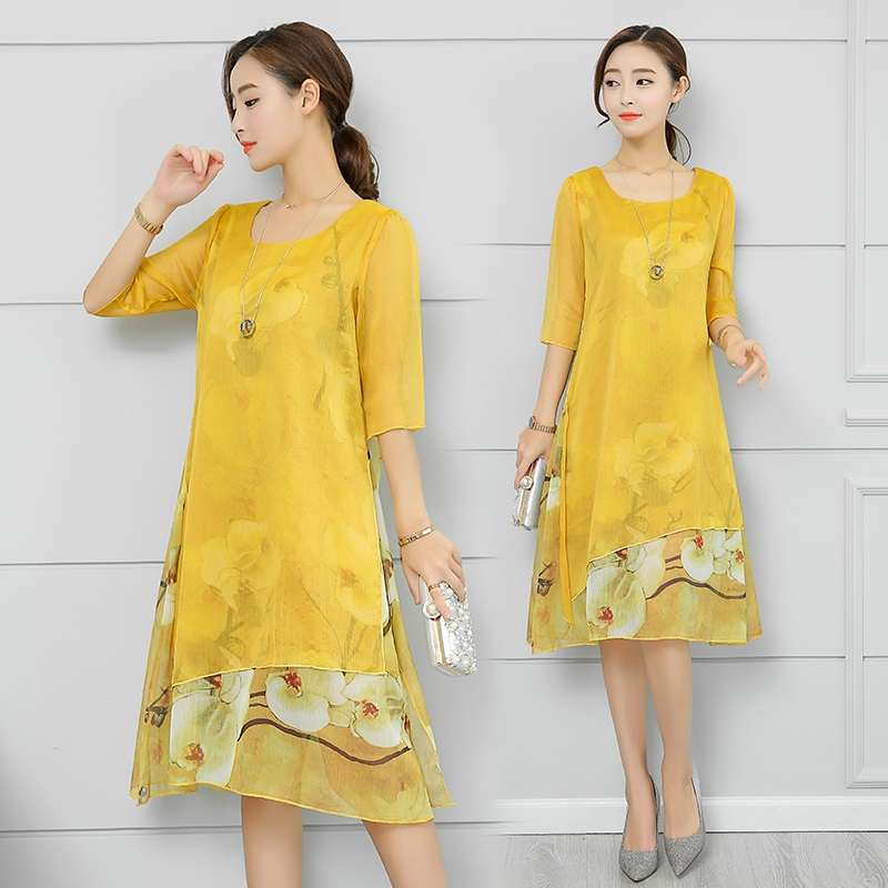 Women's Clothing Straightforward Summer Plus Size 5xl Three Quarter Sleeve Floral Print Casual Dress Vintage Elegant Faux Silk Chiffon Dresses Re2328