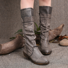 2016  Retro Handmade High Boots  High Quality Women Shoes Flat Heels Genuine Leather Women Knight Boots TG024