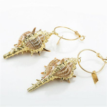 Hello Miss 2019 new popular exaggerated shell earrings conch shape fashion personality girls