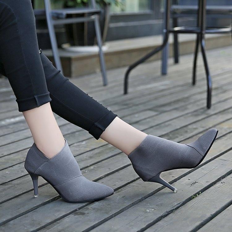 Mode Hauts D'hiver Femmes Automne gris Vente Talons Femelle Bout Noir Singe Chaussures Base 6960 Pointu De Outwear Équipée Et Casual Chaude XxzqazI