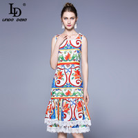 High Quality Ethnic Vintage Runway Dress Women S Sleeveless Button Lace Patchwork Tiered Floral Print Casual