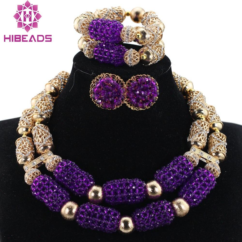 Purple Necklace Bracelet Jewelry Set Stud Earrings Women African Nigerian Jewelry Set for Wedding QW1111Purple Necklace Bracelet Jewelry Set Stud Earrings Women African Nigerian Jewelry Set for Wedding QW1111