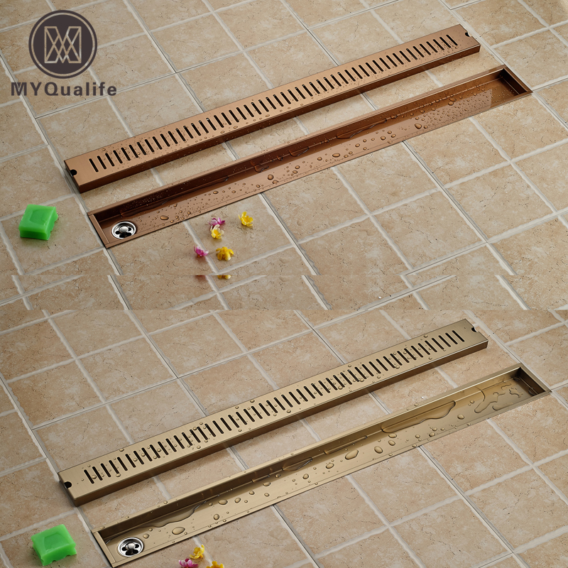 TI-PVD/rose golden 90cm Stainless Steel Bathroom Channel Tile Drains Linear Long Shower Grate Floor Drain слингобусы ti amo мама слингобусы алба