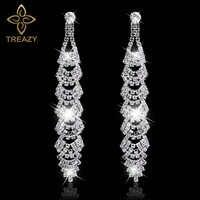 TREAZY mariée belle feuille Design longues boucles d'oreilles étincelantes argent strass cristal Dangle boucles d'oreilles pour femmes bijoux de mariage