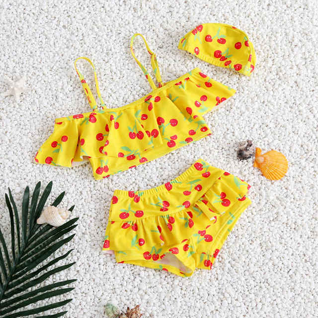 Bebek cereza del traje de baño bikini traje de baño del bebé de los niños niñas de natación trajes de baño para niños de natación ropa sin Tapa