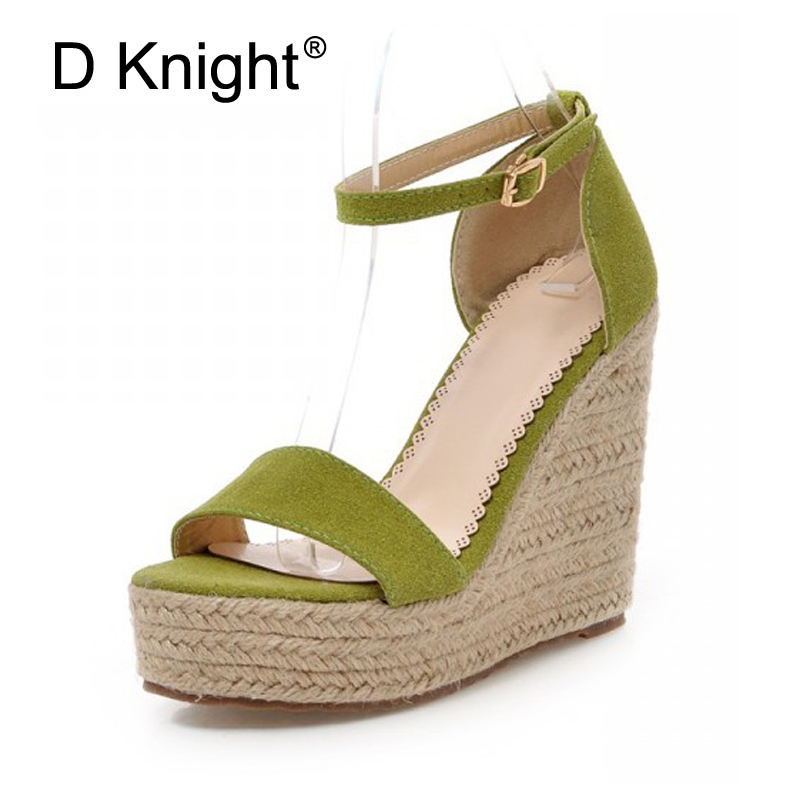 fd50df4f8d 2018 Buckle Strap Wedges Women Sandals Black Gladiator Platform Beach Shoes  Sexy Woman Sandal Office Lady Vacation Shoes Green