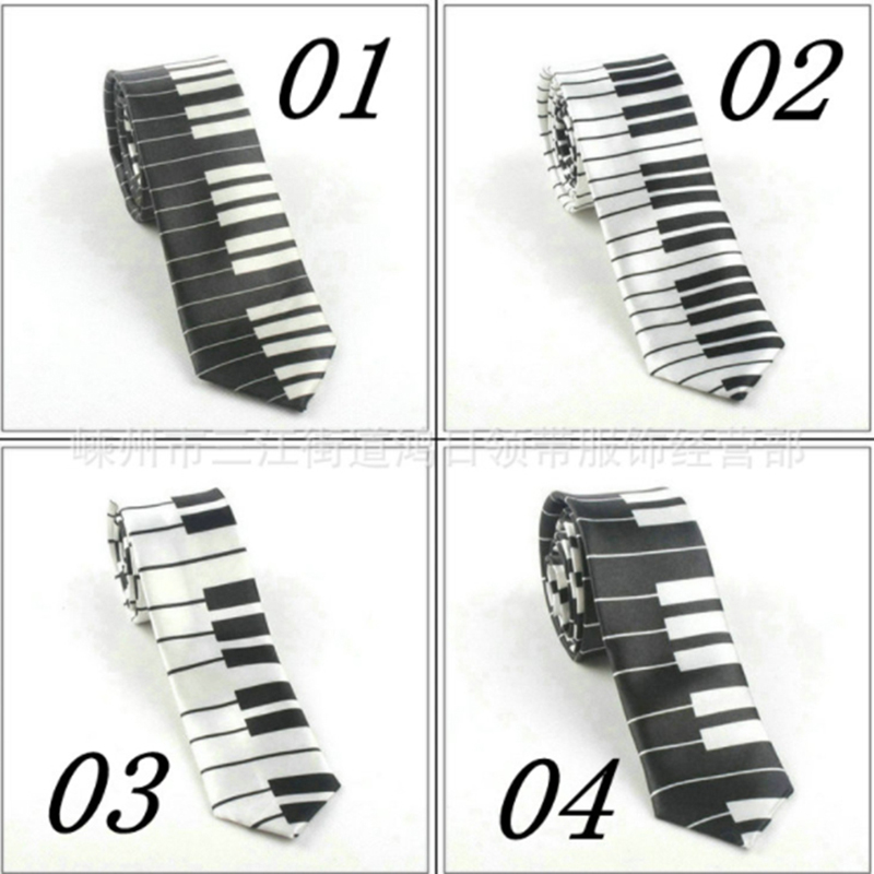 New Men Ties Creative Design Unique Musical Tie Gift For Man With Piano Keyboard Wide Classical Music Thin Tie Bigsweety