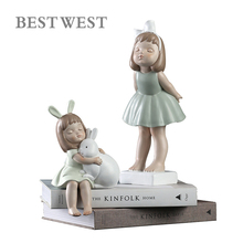 Abstract Angel Girl & Rabbit Figurine Creative Cartoon Statue Home Decor Ornament Kids Gift Room Decoration Resin Toy