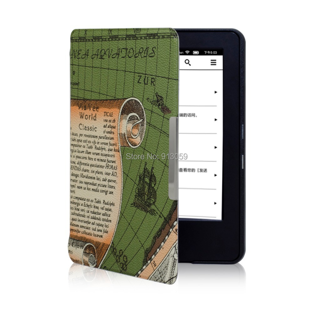 worldmap print smart cover case for 2014 new kindle touch screen 7th generation+screen protector+stylus