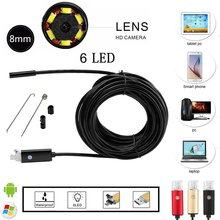 Hidden 2in1 Endoscope Android & PC USB Inspection Mini Camera 7MM 720P HD Borescope Video Cam 6 Adjustable LED Night Vision Spy