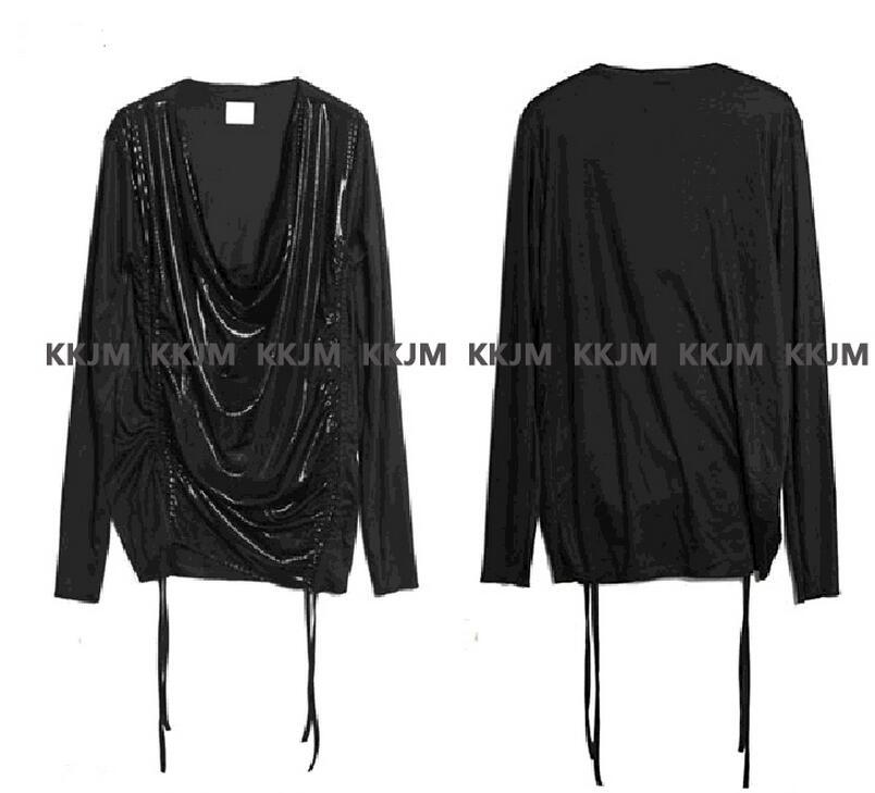 De Plissée T argent Mâle Chanteur Arrivée Hommes Costumes 2016 Noir Vêtements Costume hop Nouveau Nouvelle Printemps Hip shirt f1OROw