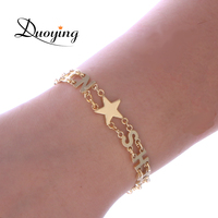 Duoying Capital Letter Bracelets For Women Star Heart Symbol Custom Name Personalized Bracelets Jewelry Gifts For