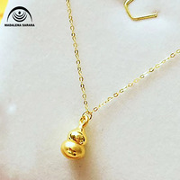 MADALENA SARARA Golden Gourd Pendant Mini 24k Pure Gold Necklace 9999 Gold Small Clavicle Water Wave Necklace