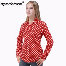 SPARSHINE Red Polka Dot Female Blouses Shirts Printed 2017 Casual Blusa Feminina 5xl Blouse Plus Size Women Clothing Ladies Tops