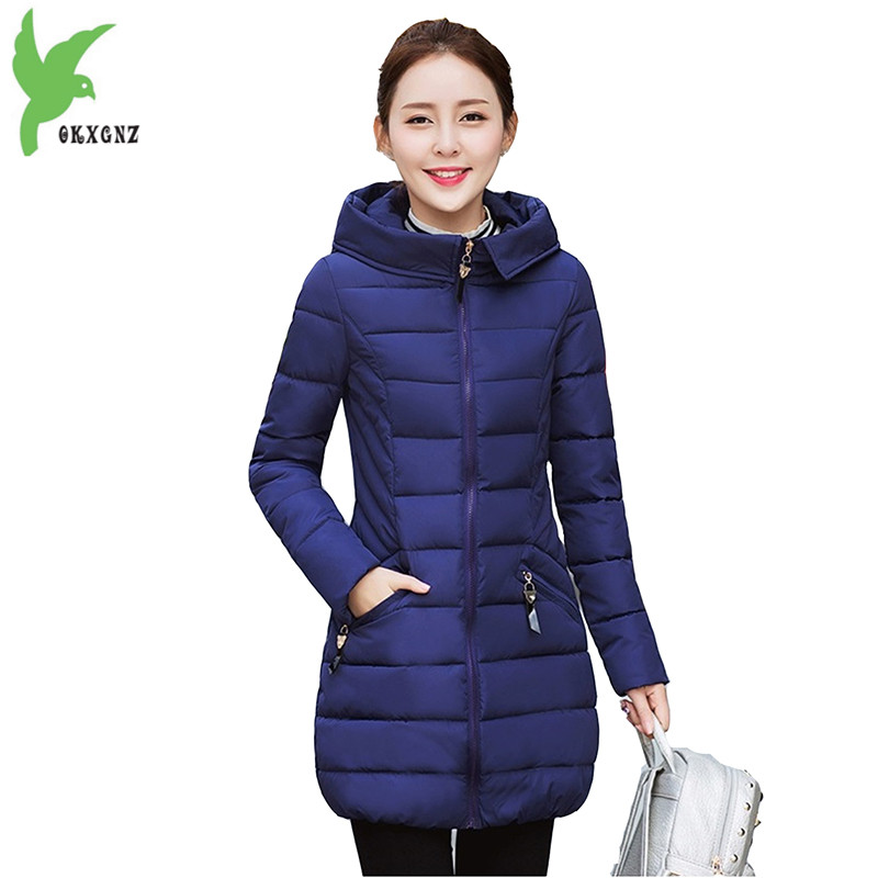 New Winter Women Cotton Jackets Solid Color Warm Casual Tops Fashion Hooded Down Cotton Coat Plus Size Slim Outerwear OKXGNZ 793 new winter women cotton jackets solid color hooded long coat plus size fur collar thicker warm slim casual outerwear okxgnz a795