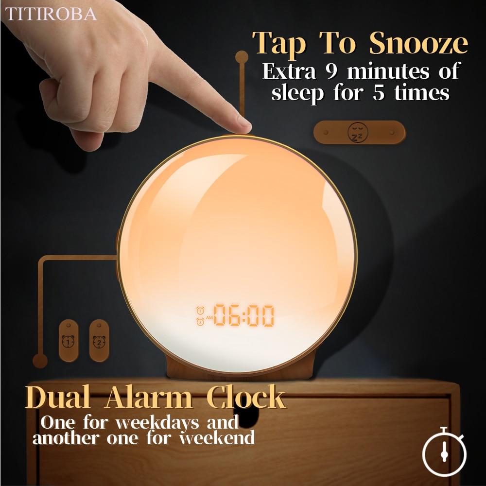 Image 4 - TITIROBA Digital Snooze Function Alarm Clock New Wake up light  Clock Sunrise Sunset Light FM Function Alarm Clock for Daily LifeAlarm  Clocks