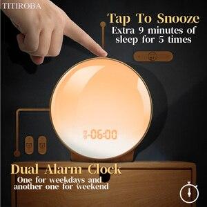 Image 4 - TITIROBA דיגיטלי פונקציה נודניק שעון מעורר חדש להתעורר אור שעון שקיעת זריחת אור FM פונקצית שעון מעורר עבור יומי חיים