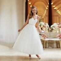 Vestido De Noiva Curto Fast Shipping China Bridal Dress White Lace Tea Length Ball Gown Wedding