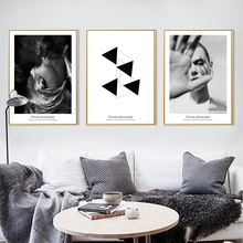 Simple Character Beauty Black And White Style Geometric Element Canvas Art Painting Print Poster Picture Modern Home Decoration