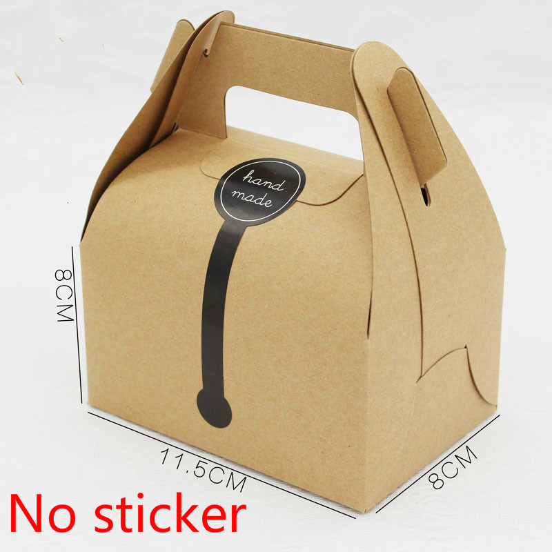 50 Pcs Kraft Paper Box With Handle Wedding Gift Box Muffin Packaging Party Birthday Dessert Baking Package Cookies Cupcake Box in Gift Bags Wrapping Supplies from Home Garden
