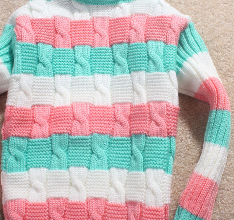 f30562b80945 3pcs  lot New Style Design Of Hand Made Sweaters Children Baby Girls  Colorful Sweater Very Thick Turtleneck Stripe Kids Clothes-in Sweaters from  Mother ...