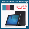 High quality case for Cube Talk 9x PU Leather Case Protective Cover for Cube U65GT tablet pc with wake sleep + free 2 gifts