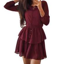summer dress women Three Quarter Sleeve Dress Ladies Casual Everything Party Mini Dress(China)